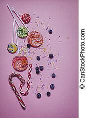 papier rose, myrtille, bonbon