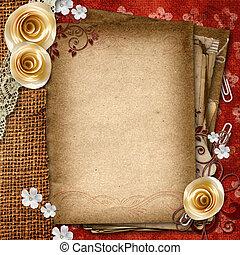 papier, roses, vieux, shits, dentelle, album, vendange