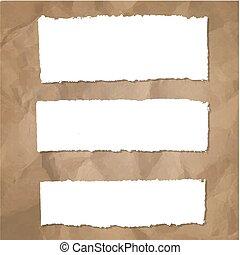 papier, rozerwał, komplet, tło, tektura