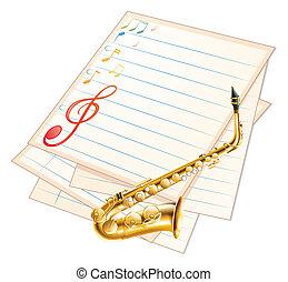 papier, saxophone, musical, vide