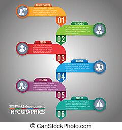 papier, schablone, infographics