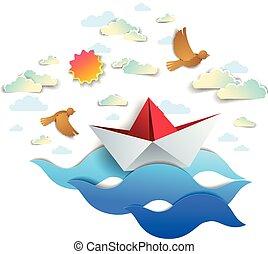 papier, schiff, schwimmender, in, meer, wellen, origami, gefaltet, spielen boot, schwimmend, in, der, wasserlandschaft, mit, schöne , landschaftlich, wasserlandschaft, mit, vögel, und, wolkenhimmel, in, der, himmelsgewölbe, vektor, illustration.