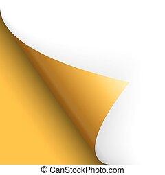 papier, seite, drehend, boden, links, gelber