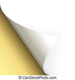 papier, /, seite, drehend, boden, links, gold