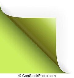 papier, /, seite, drehend, boden, links, grün
