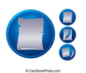 papier, set, pictogram