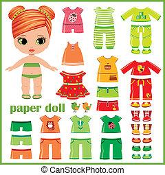 papier, set, pop, kleren