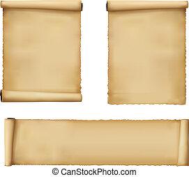 papier, sheets., set, oud, vector.