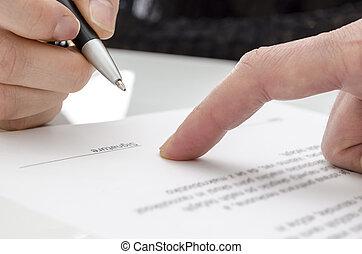 papier, signer, femme