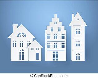 papier, silhouettes, de, bâtiments, vecteur, illustration
