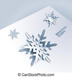 papier, snowflakes, achtergrond