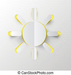 papier, soleil, illustration, vecteur, coupure