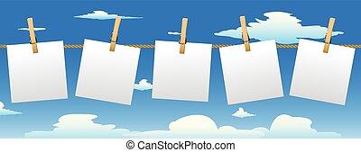 papier, spandoek, opmerkingen., vijf
