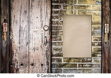 papier, stary, ściana, cegła