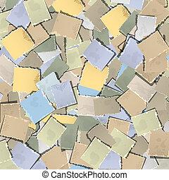 papier, stary, tło, kawałki