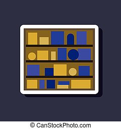 papier, sticker, op, modieus, achtergrond, boekenplank