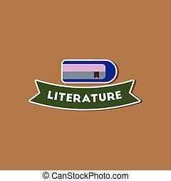 papier, sticker, op, modieus, achtergrond, literatuur, les