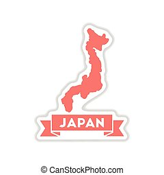 papier, sticker, op wit, achtergrond, japan, kaart