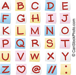 papier, stickers., alphabet, note