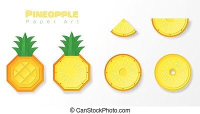 papier, stil, ananas, kunst, satz