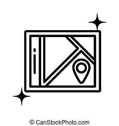 papier, styl, ikona, kreska, mapa, rozmieszczenie