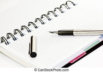 papier, stylo, cahier, fontaine, il