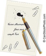 papier, stylo, tache, vide