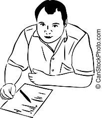 papier, table, croquis, hommes, écriture