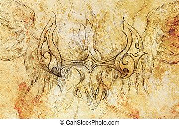 papier, tekening, sepia, achtergrond, oud, decoratief, draak, kleur, structure.