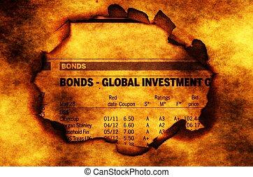 papier, tekst, gat, globaal, investering