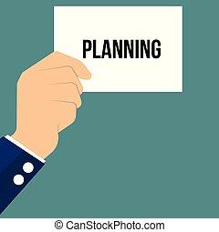 papier, tekst, het tonen, planning, man