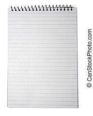 papier, tekst, odizolowany, albo, tło., wiązanie, notatnik, projektować, biały, pasiasty, twój, opróżniać, strona