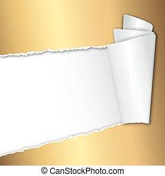 papier, text, rgeöffnete, goldenes, zerrissene , raum