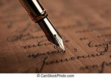 papier, texte, bois, stylo, noircissez encre fontaine, ...