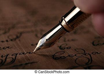 papier, texte, main bois, stylo, noircissez encre fontaine, ...