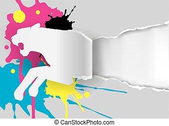 papier, tiger, het scheuren, silhouette