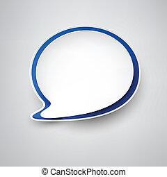 papier, toespraak, white-blue, bubble.