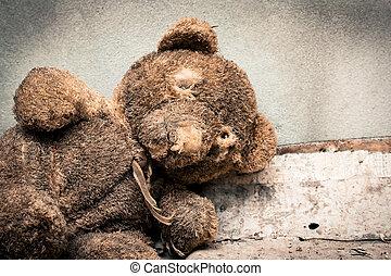 papier, tonalité, vieux, ours, noir, blanc, abandonnés, teddy, tas