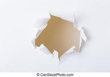 papier, trou, déchiré