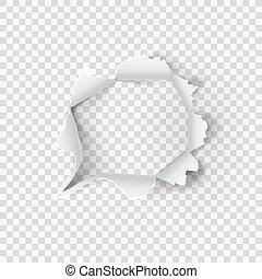 papier, trou, déchiré, transparent, fond