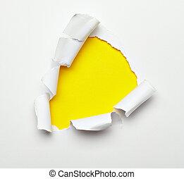 papier, trou, endommagé, détruit, déchiré, exploser