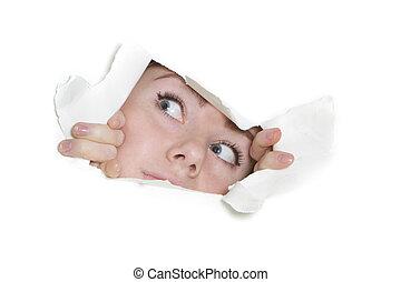 papier, trou, femme, par, regarder dérobée
