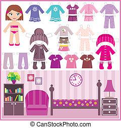 papier, vêtements, ensemble, poupée