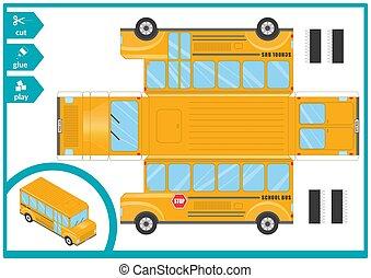 papier, vecteur, coupure, model., jeu, activité, enfants, colle, voiture., art, illustration., page., 3d