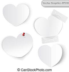 papier, vecteur, vide, cœurs, blanc, template.