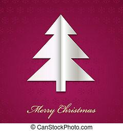 papier, vector, boompje, kerstmis, gemaakt