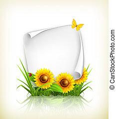 papier, vector, zonnebloemen