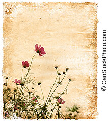 papier, vendange, floral
