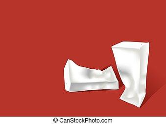 papier, verfrommeld, karton, melk