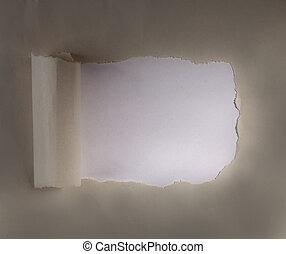 papier, verpakken, bruine , gescheurd